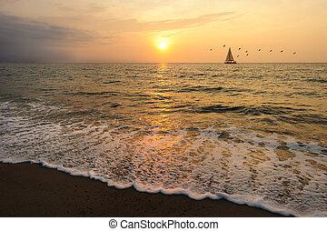 парусная лодка, закат солнца