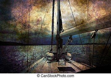 парусный спорт, концепция, лодка, гранж