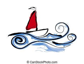парусный спорт, лодка, иллюстрация