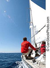 парусный спорт, люди, лодка
