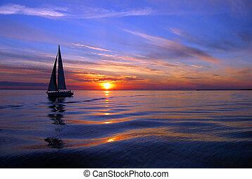 парусный спорт, море, цвет