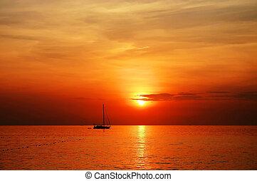 парусный спорт, пляж, kata, закат солнца, лодка, phuket