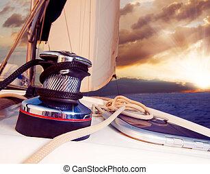 парусный спорт, против, яхта, путешествовать, sunset., sailboat.
