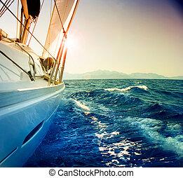 парусный спорт, против, яхта, toned, сепия, sunset., sailboat.