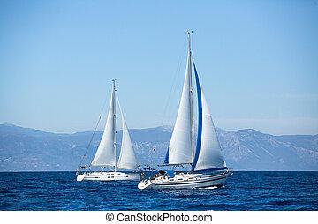 парусный спорт, роскошь, regatta., boats, yachts.