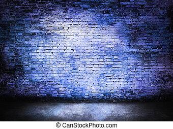 пасмурный, синий, стена, кирпич