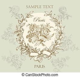 пастельный, остроумие, роза, метка, нежный, вектор