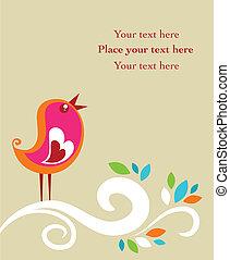 пасха, ретро, карта, птица