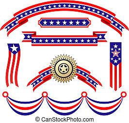 патриотический, американская, ribbons