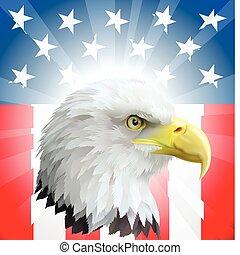 патриотический, орел, американская, флаг