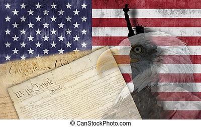 патриотический, symbols, американская, флаг