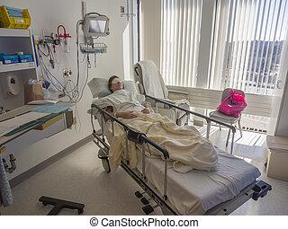 пациент, больница, спящий, постель