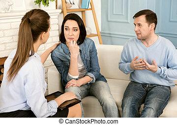 пациент, женский пол, ее, приятный, терапевт, утешительный