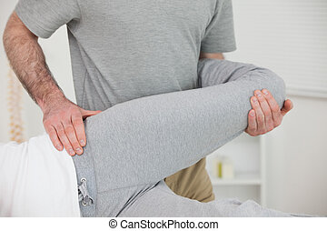 пациент, костоправ, нога, растягивание