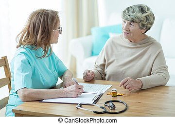 пациент, пожилой, врач