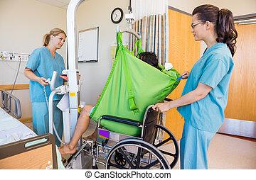 пациент, nurses, инвалидная коляска, передача, гидравлический, лифт