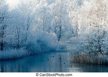 пейзаж, зима, место действия