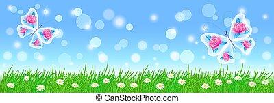 пейзаж, лето, цветы, фея, зеленый, butterflies, трава, луг