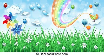 пейзаж, радуга, pinwheels, музыка, фантастика, птица, colors