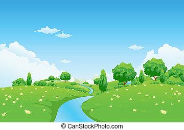 пейзаж, цветы, зеленый, река, trees
