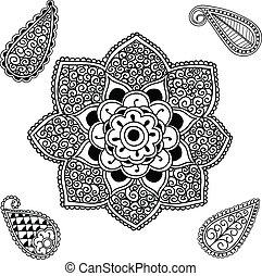 пейсли, мандала, цветок