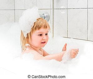 пена, детка, старый, милый, два, ванна, год, bathes