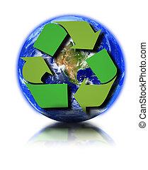 перерабатывать, земля, символ