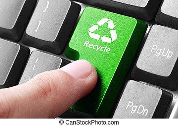 перерабатывать, кнопка, зеленый, клавиатура