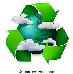 переработка, климат, концепция, изменение