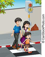 пересечение, улица, семья