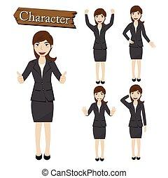 персонаж, вектор, бизнес-леди, задавать, иллюстрация