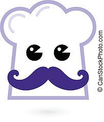 персонаж, готовка, -, isolated, шеф-повар, белый, шапка
