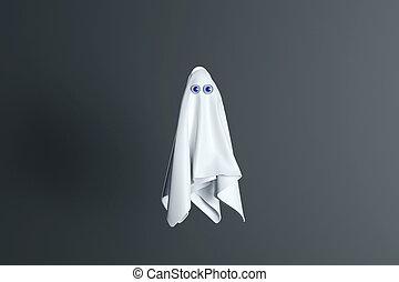 персонаж, день всех святых, синий, eyes., 3d, существо, background., оказывать, белый, лист, призрак