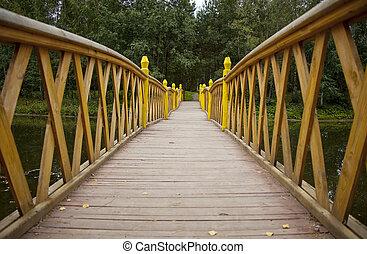 перспективный, мост, над, воды, дерево, лес, посмотреть