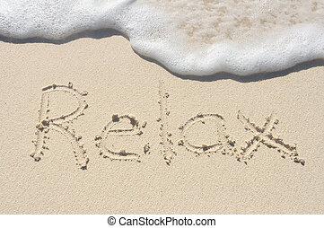песок, пляж, написано, расслабиться