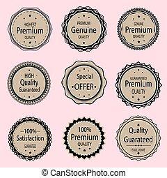 печать, значок, премия, круглый, качественный, герб, продажа, подлинный, кожа, labels., badges, вектор, печать, set., медаль