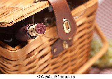 пикник, корзина, бутылка, glasses, пустой, вино
