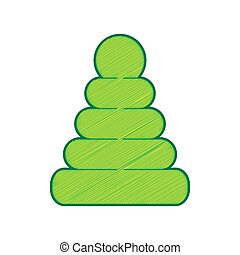 пирамида, лимон, illustration., isolated, знак, background., vector., белый, мазня, значок