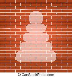 пирамида, illustration., беловатый, стена, знак, background., vector., кирпич, значок