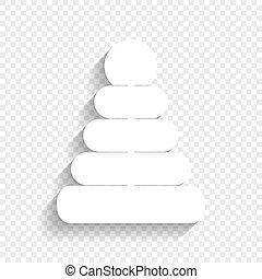 пирамида, illustration., знак, background., vector., белый, мягкий, тень, прозрачный, значок