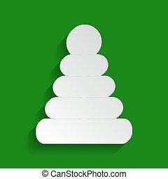 пирамида, illustration., background., знак, беловатый, бумага, зеленый, vector., тень, мягкий, значок