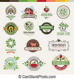 питание, задавать, органический, badges
