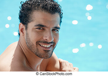 плавание, человек, молодой, бассейн, сидящий
