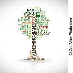 плакат, абстрактные, экология, -, дерево