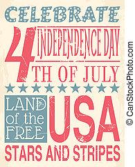 плакат, день, независимость