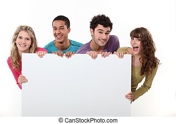 плакат, friends, группа, держа, пустой