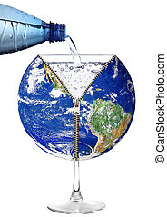 планета, воды, стакан, задний план, земля, белый