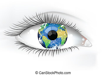 планета, глаз, земля, desaturated