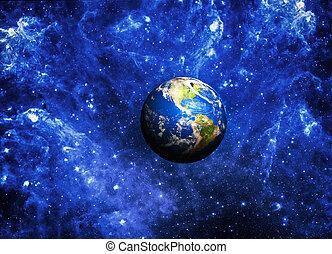 планета, земля, глубоко, пространство