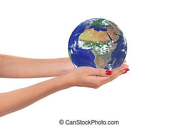 планета, земля, женщина, hands.